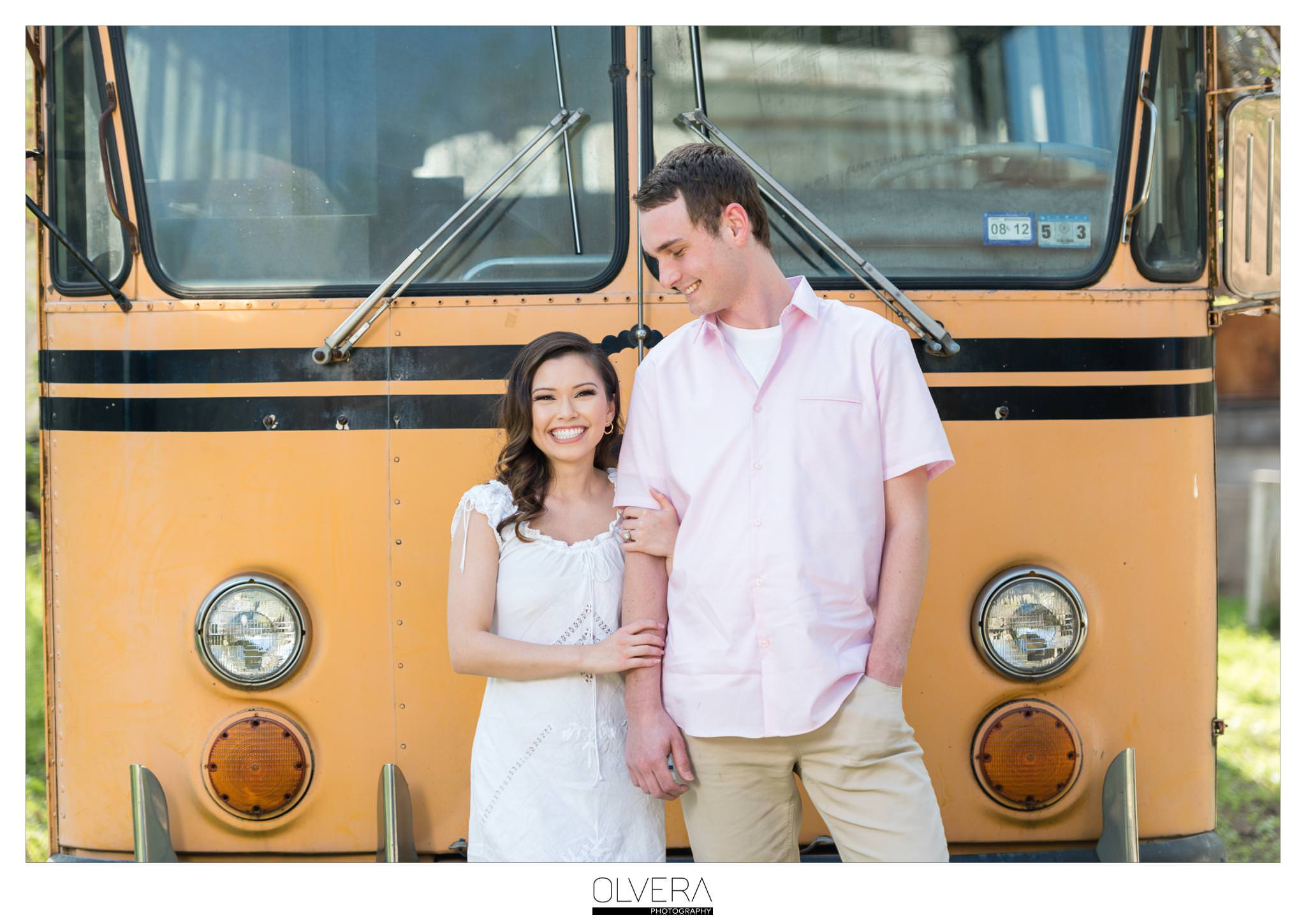 Romantic Schoolbus Engagement Photos_San Antonio Wedding Photographer 1