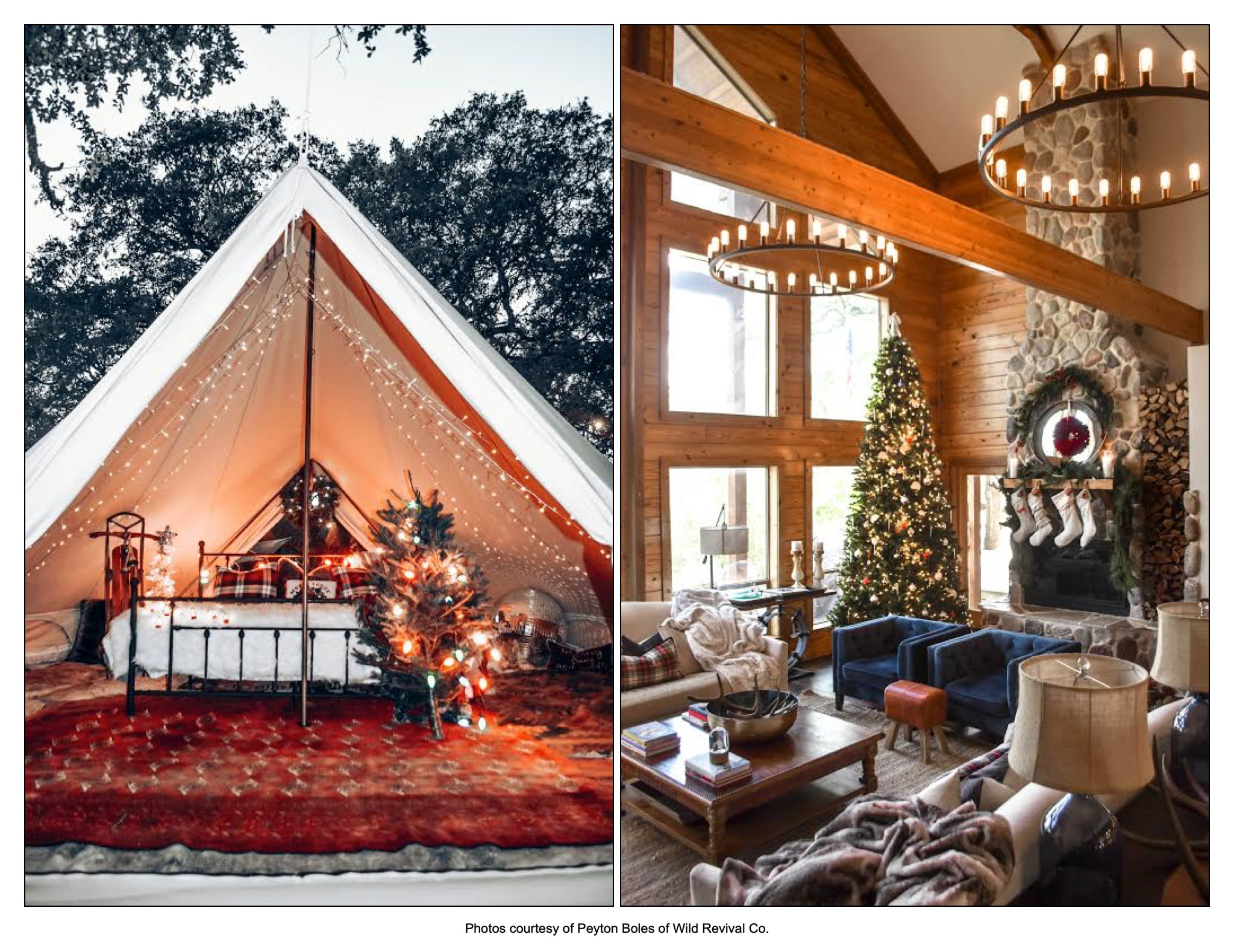 Cozy Christmas styled cabin and tent, San Antonio, TX. Wild Revival Co.