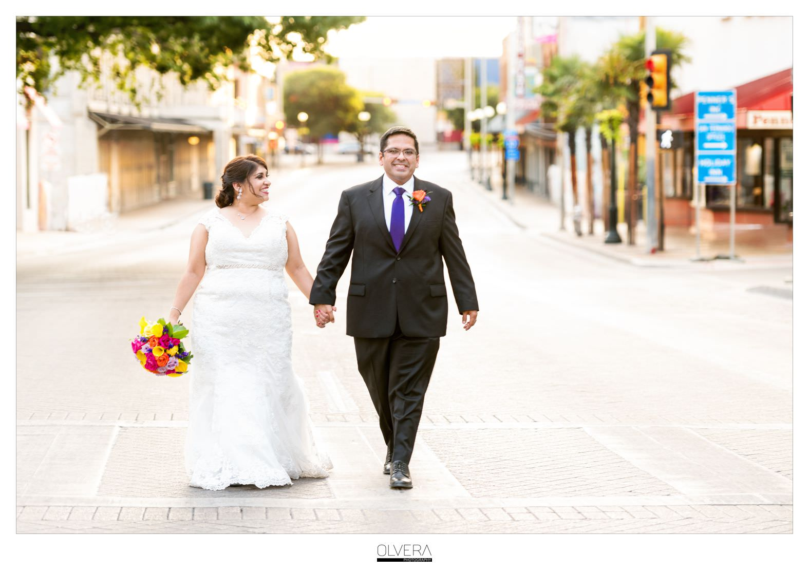 Bride and Groom walking in street|Downtown San Antonio|Olvera Photography