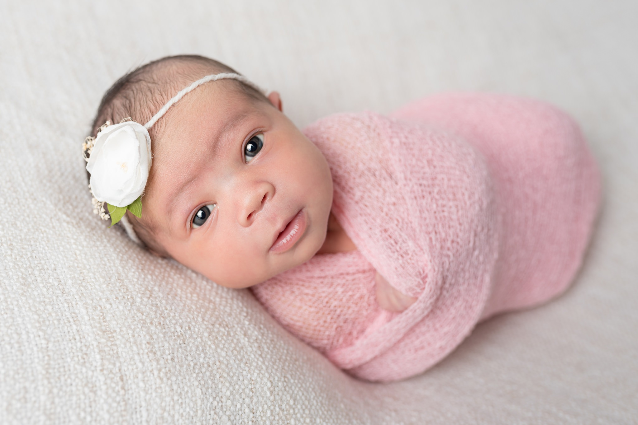 San Antonio newborn girl portraits in pink wrap
