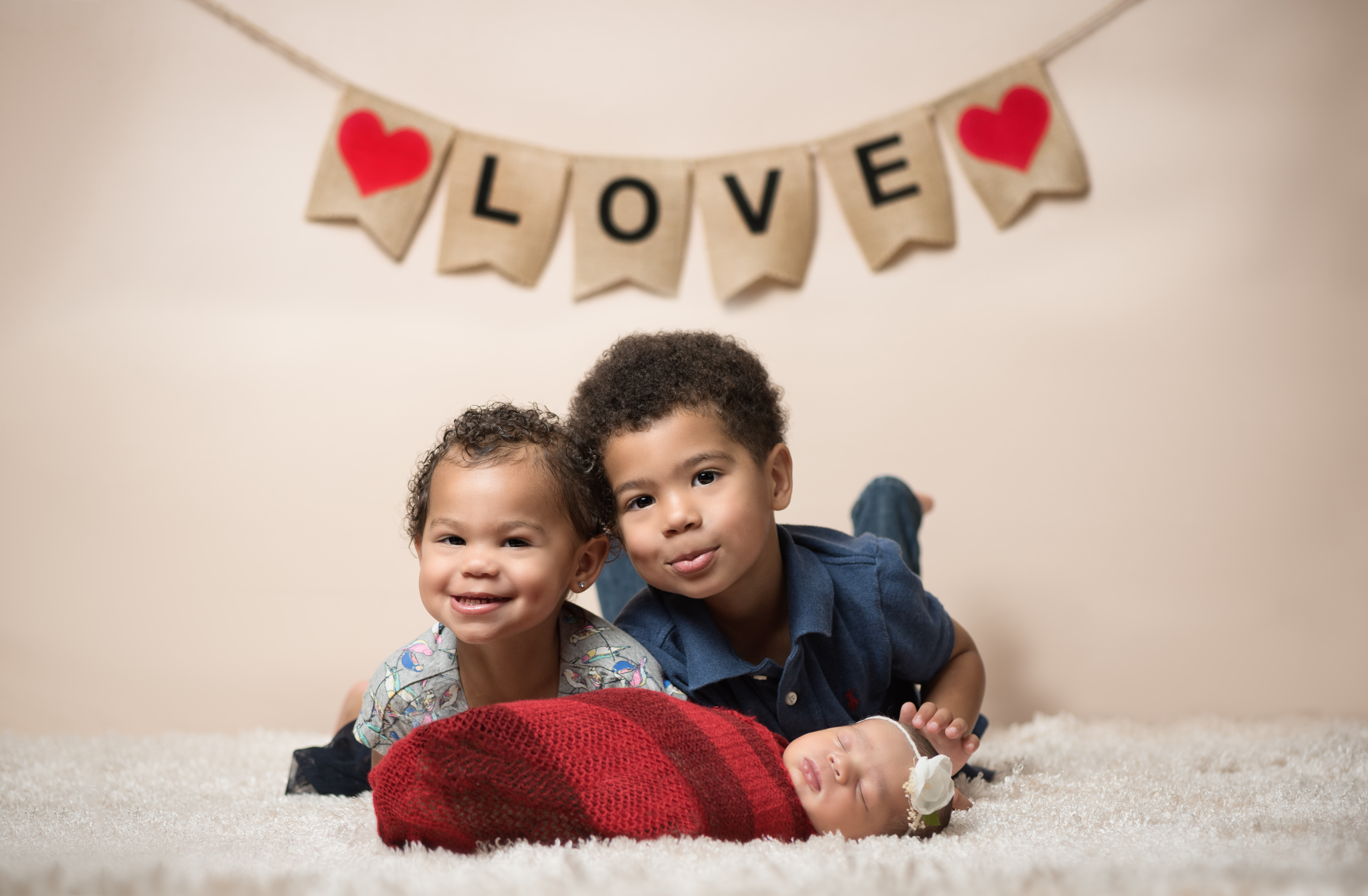 San Antonio Newborn with sibling portraits in Valentine's Day theme